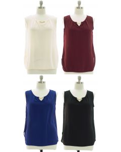 Plus Sleeveless Keyhole Bar Yoke Blouse - Assorted