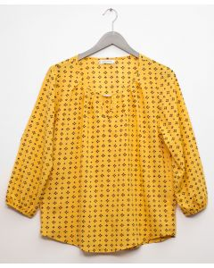 3/4 Sleeve Jewel Front Blouse - Mustard
