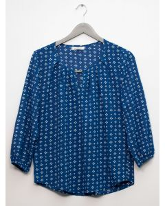 3/4 Sleeve Jewel Front Blouse - Royal Blue