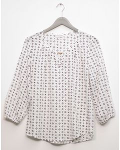 3/4 Sleeve Jewel Front Blouse - White