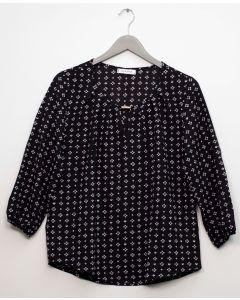 3/4 Sleeve Jewel Front Blouse - Black
