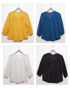 3/4 Sleeve Jewel Front Blouse - Assorted