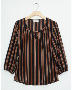 Jewel Neck Neat Print Blouse - Black Brown Stripe