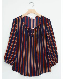 Jewel Neck Neat Print Blouse - Navy Red Stripe