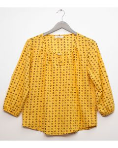 Plus 3/4 Sleeve Jewel Front Blouse - Mustard