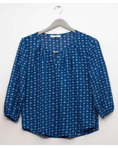 Plus 3/4 Sleeve Jewel Front Blouse - Royal Blue