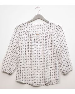 Plus 3/4 Sleeve Jewel Front Blouse - White
