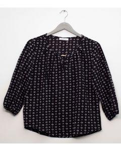 Plus 3/4 Sleeve Jewel Front Blouse - Black