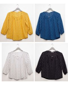 Plus 3/4 Sleeve Jewel Front Blouse - Assorted
