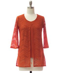 Slit Front Lace Shell Blouse - Orange
