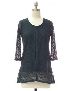 Slit Front Lace Shell Blouse - Hunter Green