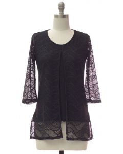 Slit Front Lace Shell Blouse - Black