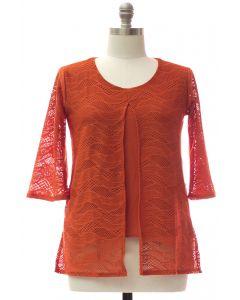 Plus Slit Front Lace Shell Blouse - Orange