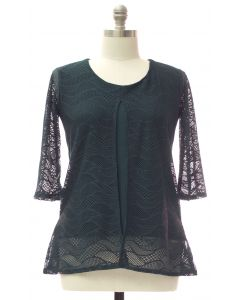 Plus Slit Front Lace Shell Blouse - Hunter Green