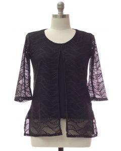 Plus Slit Front Lace Shell Blouse - Black