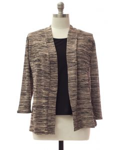 Plus Tufer Hacci Knit Cardigan - Taupe