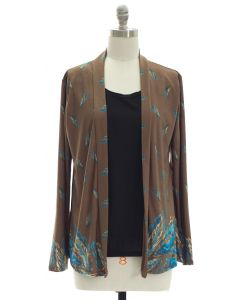 Faux Tufer Knit Cardigan - Taupe