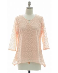 Lace Shell Jewel Yoke Blouse - Blush