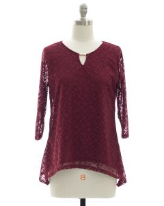 Lace Shell Jewel Yoke Blouse - Maroon
