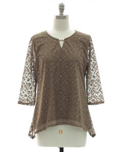 Lace Shell Jewel Yoke Blouse - Taupe