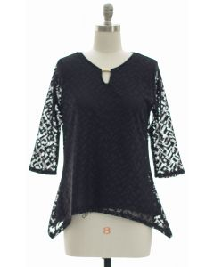 Lace Shell Jewel Yoke Blouse - Black