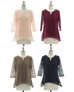 Lace Shell Jewel Yoke Blouse - Assorted