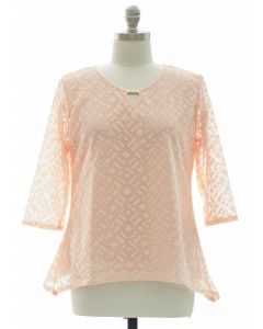 Plus Lace Shell Jewel Yoke Blouse - Blush