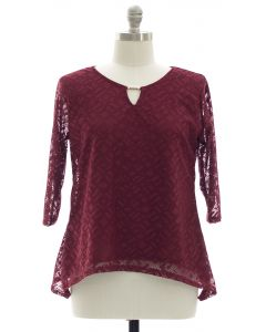 Plus Lace Shell Jewel Yoke Blouse - Maroon