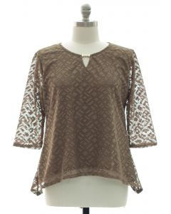 Plus Lace Shell Jewel Yoke Blouse - Taupe