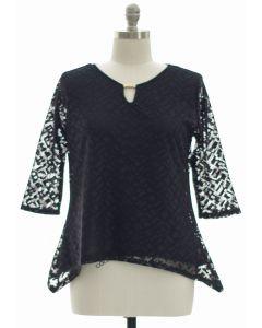 Plus Lace Shell Jewel Yoke Blouse - Black