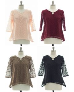 Plus Lace Shell Jewel Yoke Blouse - Assorted