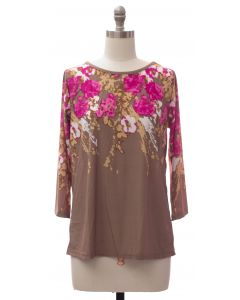 Floral Border Print Top - Taupe