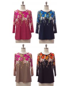 Floral Border Print Top - Assorted