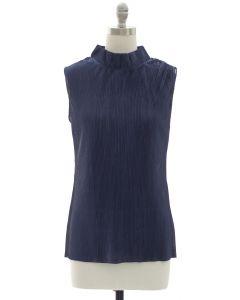 Crinkle Mandarin Collar Blouse - Navy