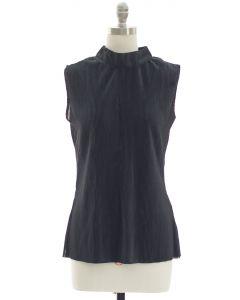 Crinkle Mandarin Collar Blouse - Black
