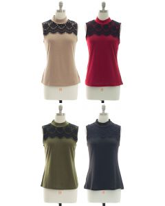 Lace Yoke Mandarin Collar Top - Assorted