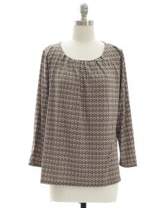 Pleated Yoke Printed Top - Taupe