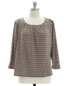 Plus Pleated Yoke Printed Top - Taupe