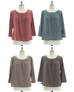 Plus Pleated Yoke Printed Top - Assorted