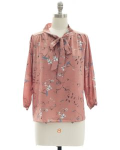 Quarter Sleeve Floral Self Tie Blouse - Blush