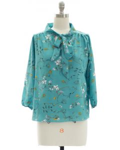 Quarter Sleeve Floral Self Tie Blouse - Teal