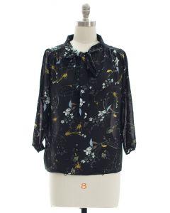 Quarter Sleeve Floral Self Tie Blouse - Black