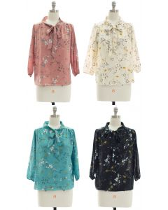 Quarter Sleeve Floral Self Tie Blouse - Assorted