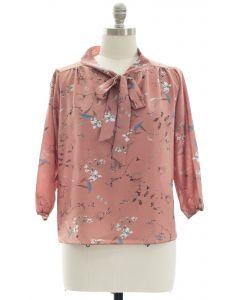 Plus Quarter Sleeve Floral Self Tie Blouse - Blush