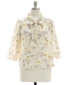 Plus Quarter Sleeve Floral Self Tie Blouse - Ivory