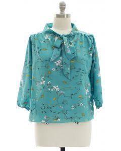 Plus Quarter Sleeve Floral Self Tie Blouse - Teal