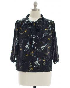 Plus Quarter Sleeve Floral Self Tie Blouse - Black
