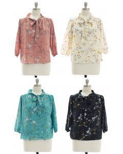 Plus Quarter Sleeve Floral Self Tie Blouse - Assorted