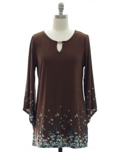 Bell Sleeve Jewel Yoke Top - Brown