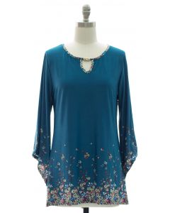 Bell Sleeve Jewel Yoke Top - Turquoise